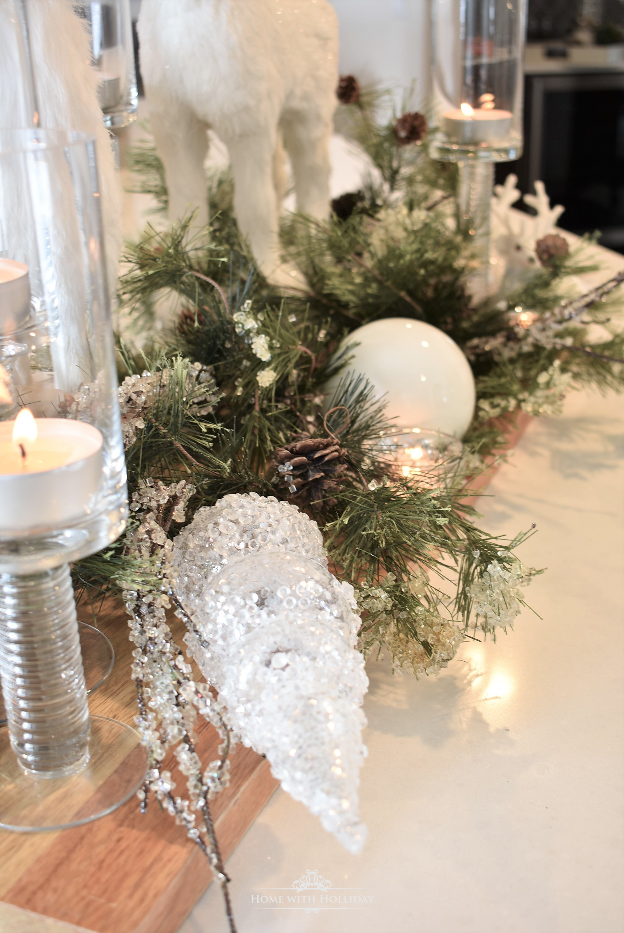 Details of my Winter White Christmas Centerpiece - Home with Holliday