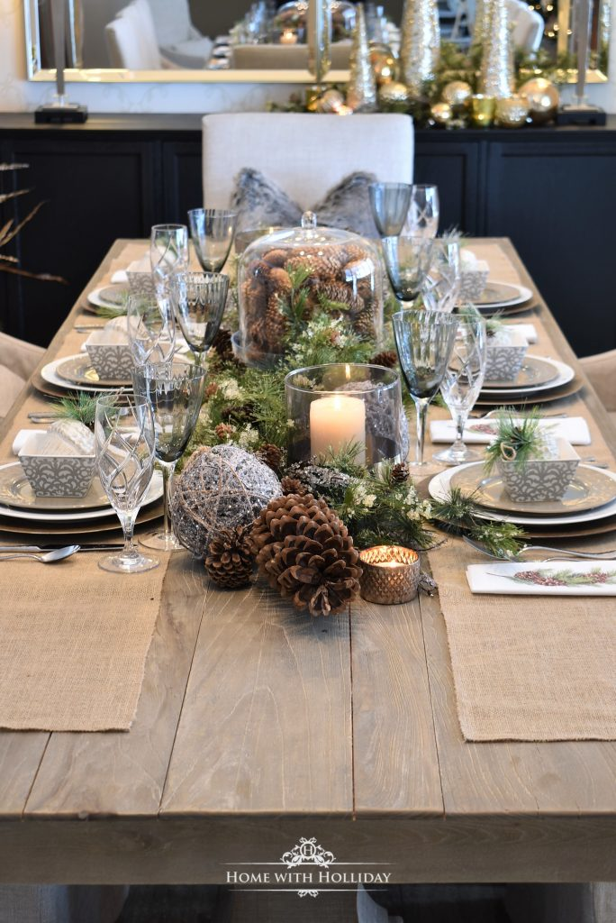 Simple woodland and pine cone christmas table setting - Simple christmas table settings ...