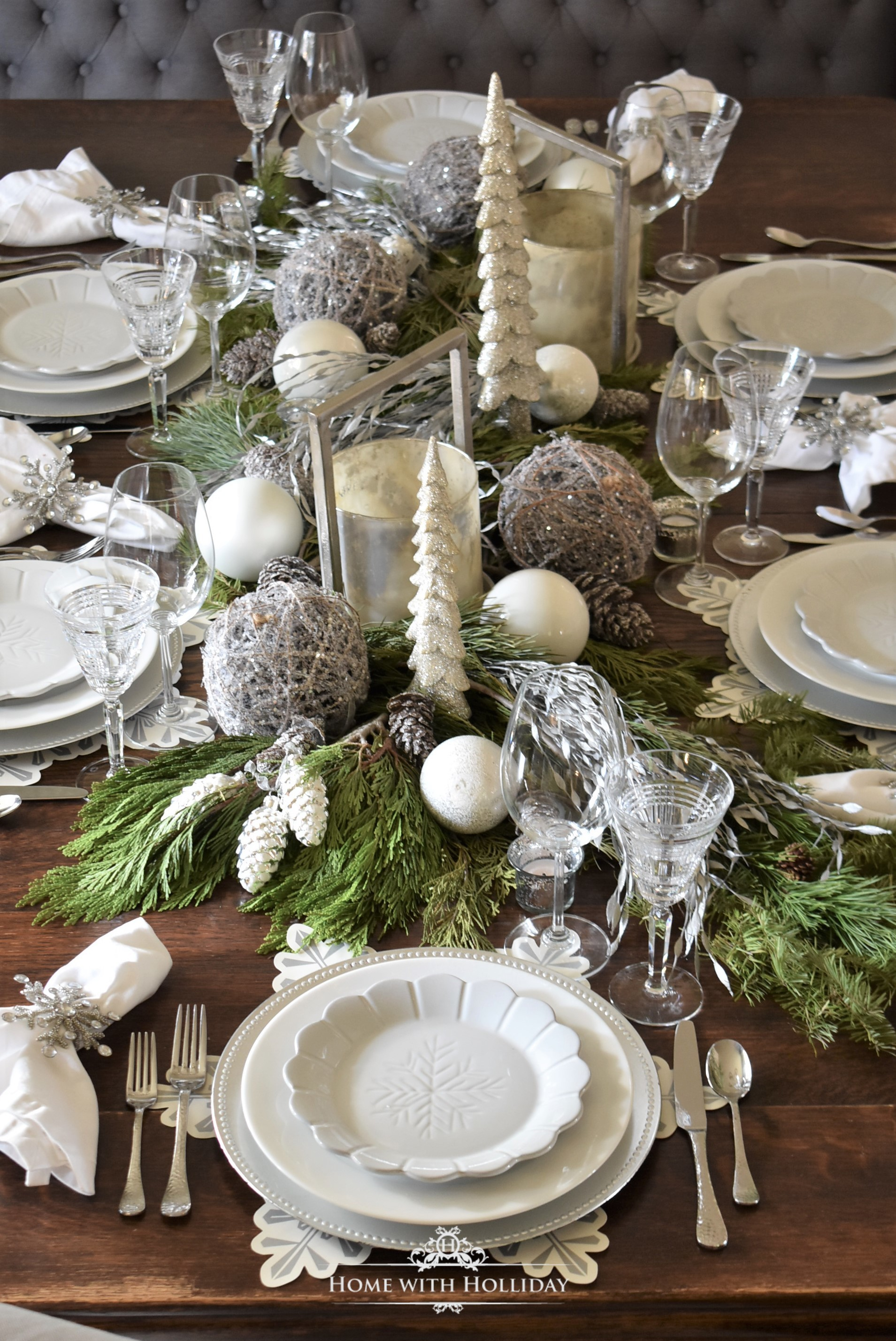 My Christmas Home Tour - Winter White Snowflake Christmas Table Setting - Home with Holliday