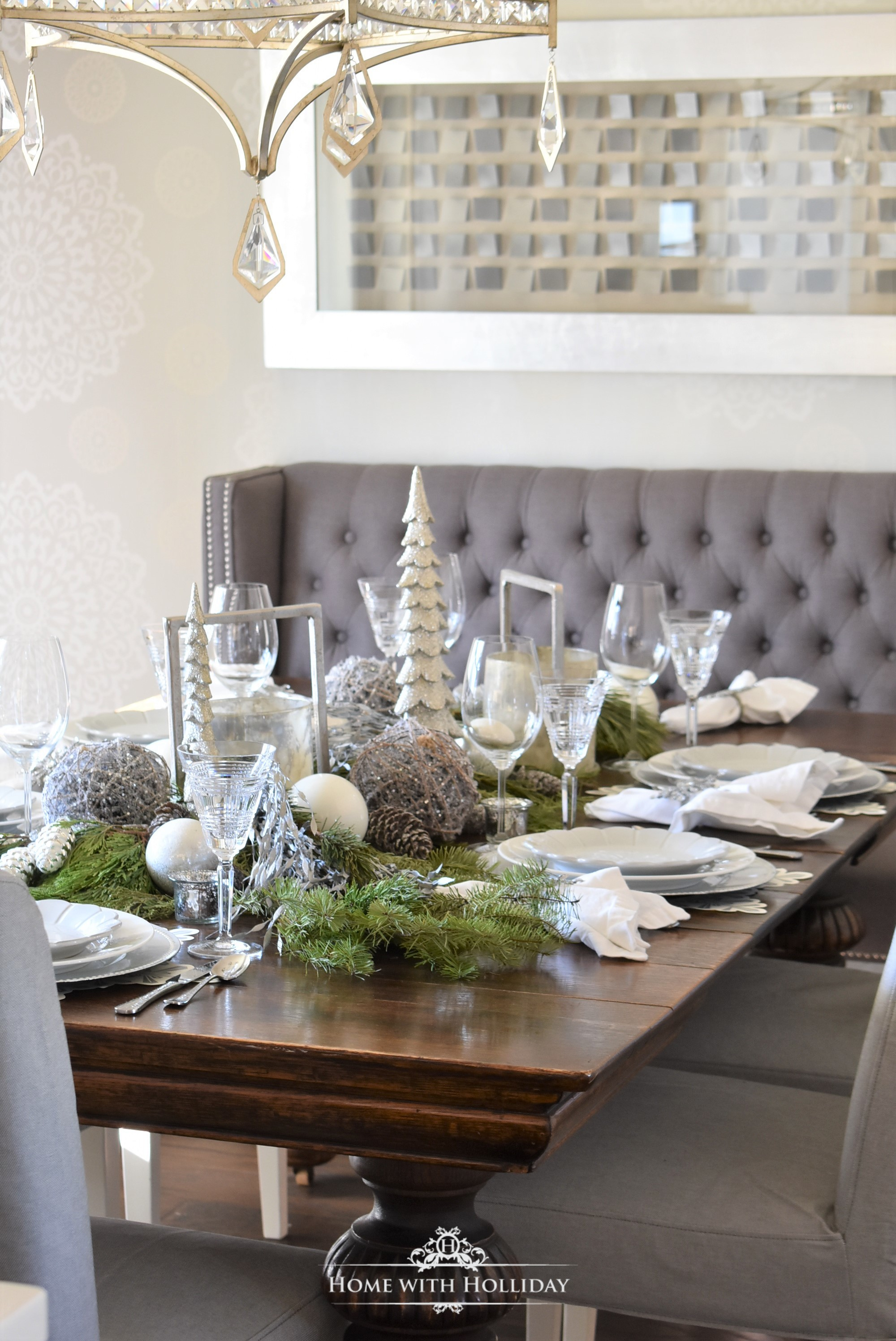 My Christmas Home Tour - Our Centerpiece for my Winter White Snowflake Christmas Centerpiece - Home with Holliday