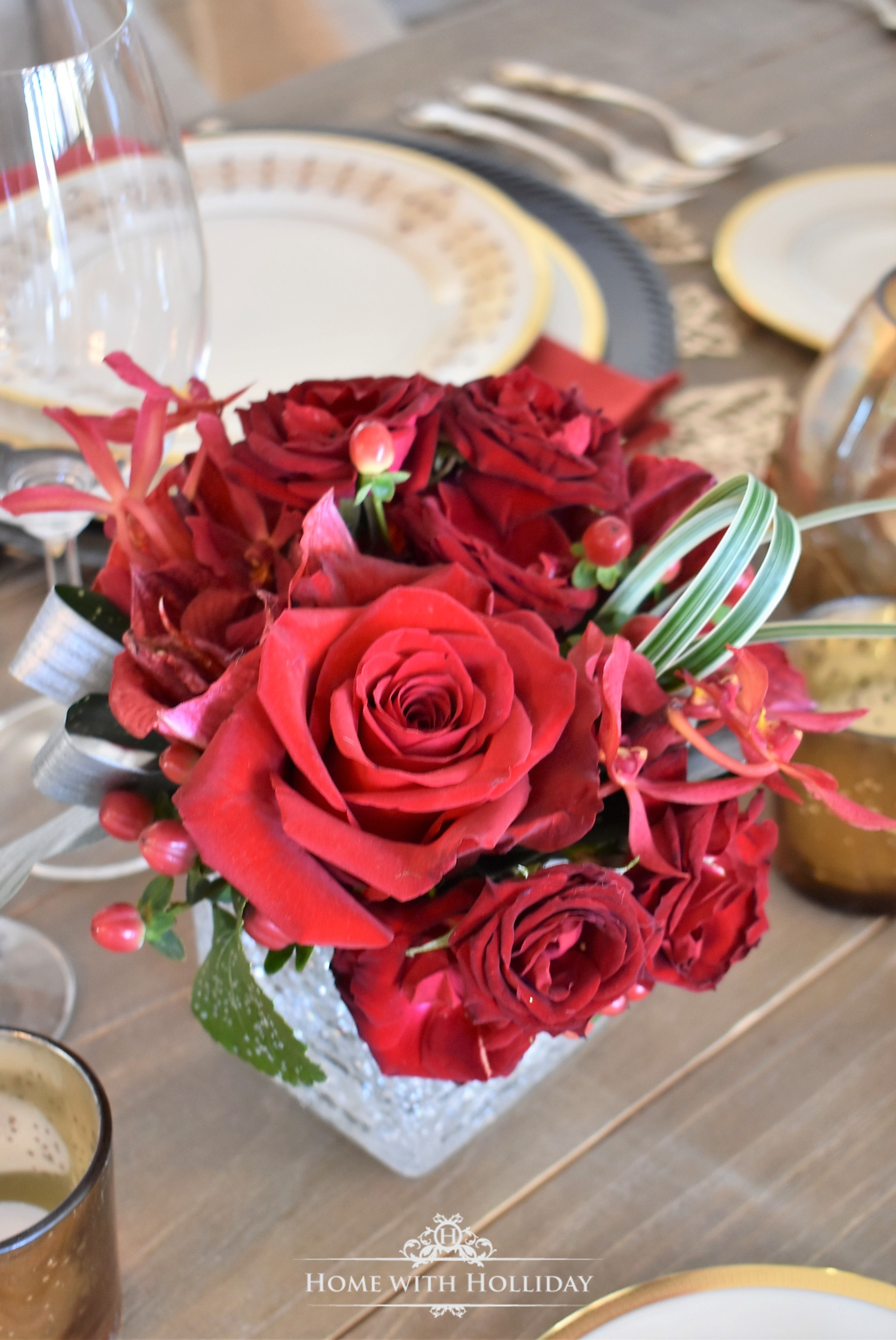 Flowers for a Wine Tasting Dinner Party for New Year's Eve or Valentine's Day - Home with Holliday