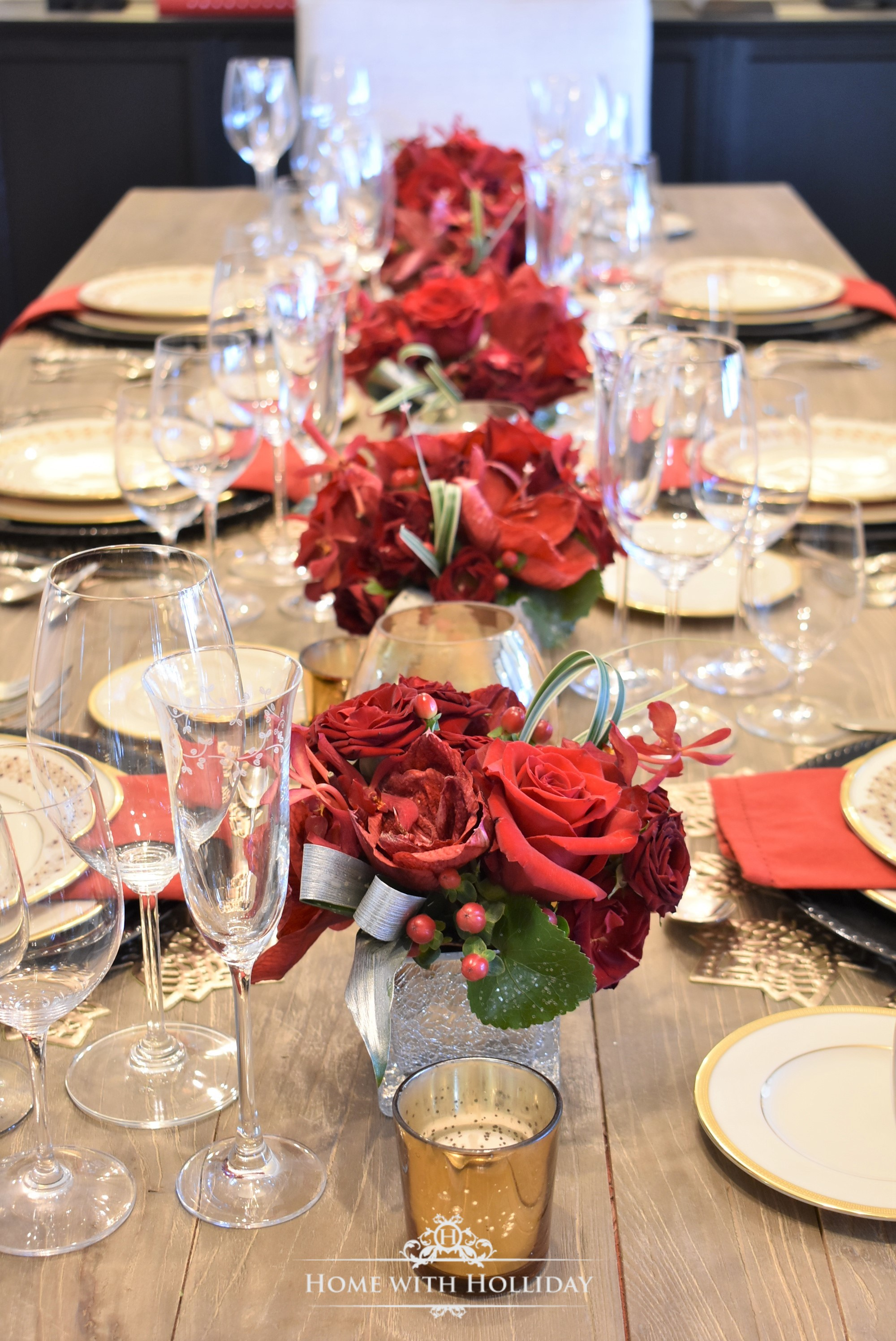 Florals for a Wine Tasting Dinner Party for New Year's Eve or Valentine's Day - Home with Holliday