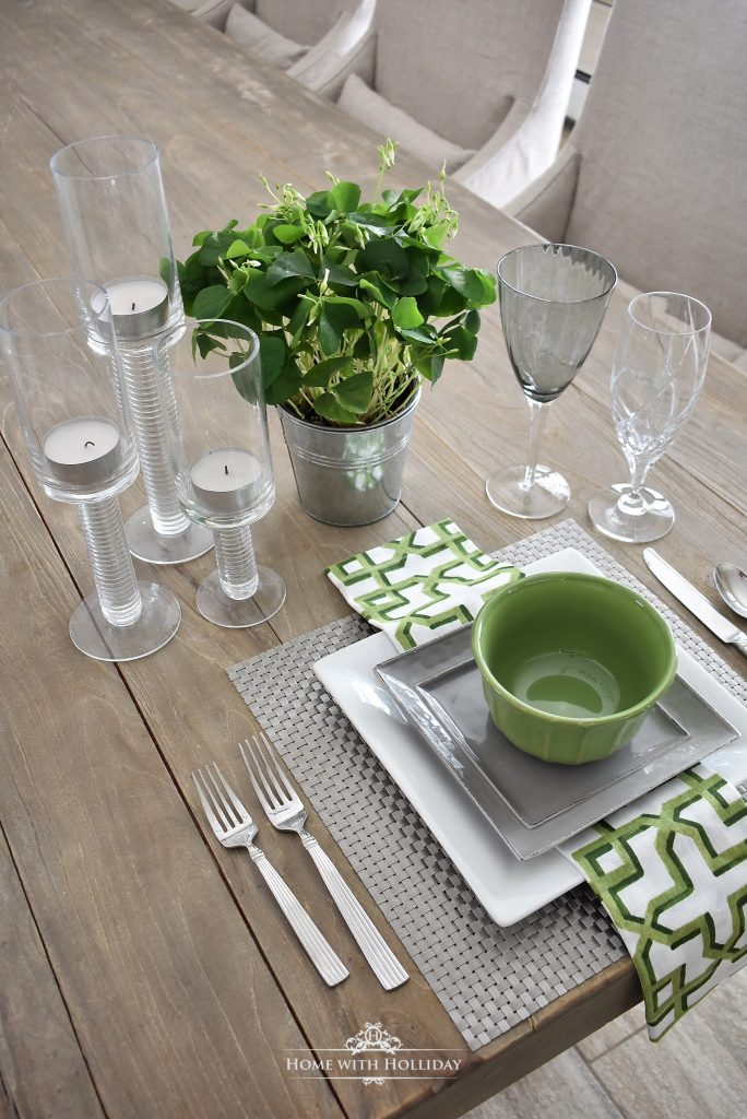 Green Table Setting Ideas - Home with Holliday