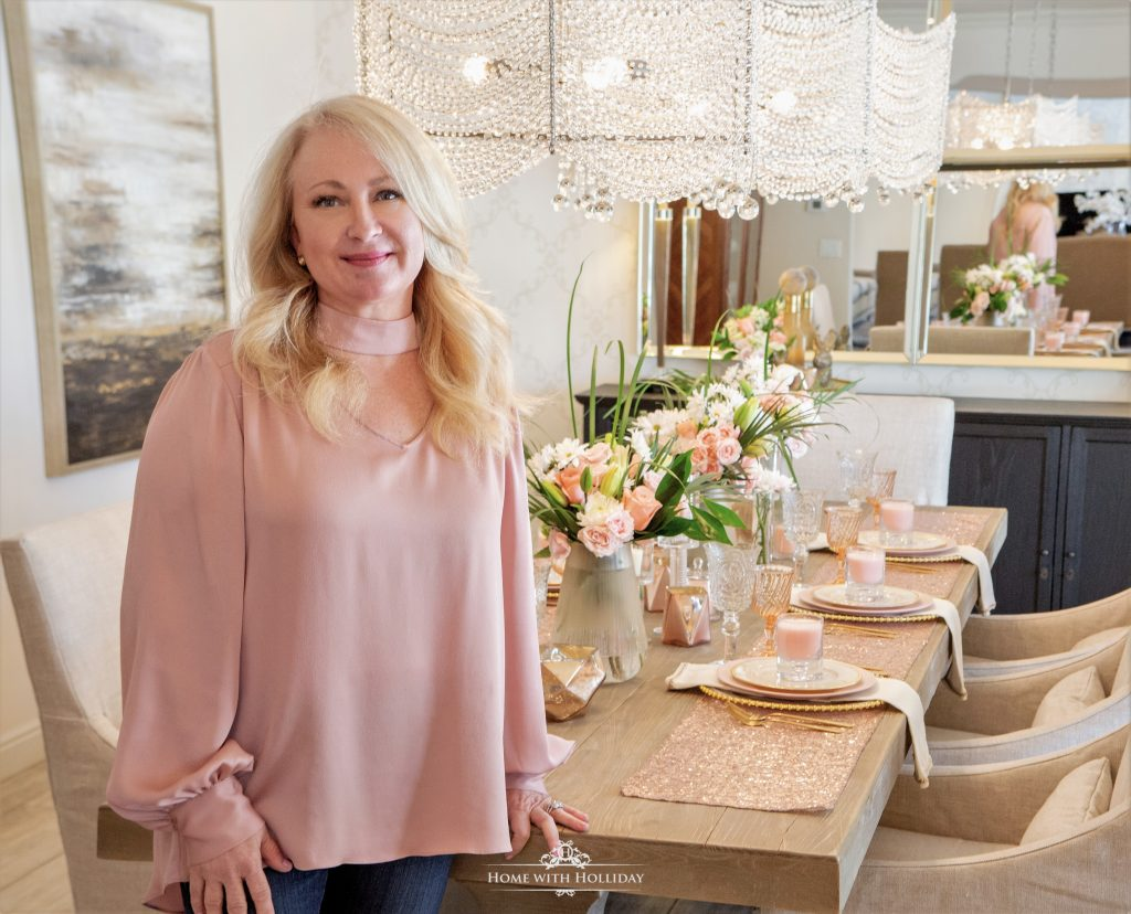 Blush Pink and Gold Table Setting - Home with Holl