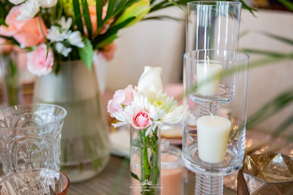 Flowers for a Blush Pink and Gold Table Setting - Home with Holliday