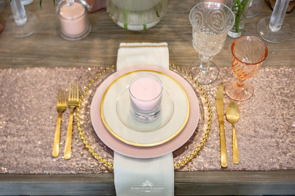 Place Settings for a Blush Pink and Gold Table Setting - Home with Holliday