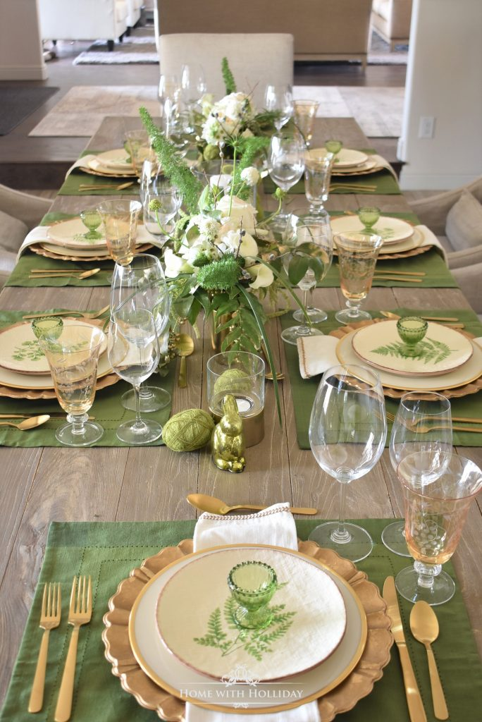 Home with Holliday's Top 10 Posts of 2019 - Green and Gold Easter Table Setting