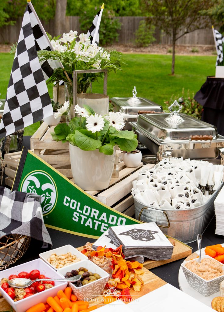 Black and White Outdoor Graduation Party Buffet Table - Home with Holliday