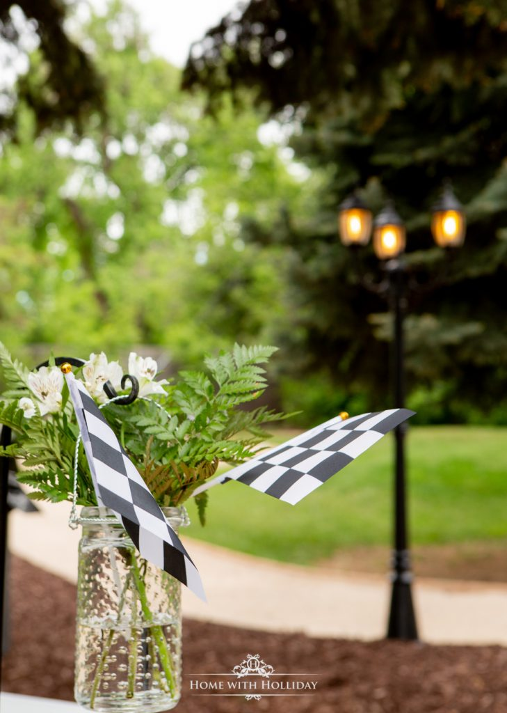 Decor for our Black and White Outdoor Graduation Party - Home with Holliday