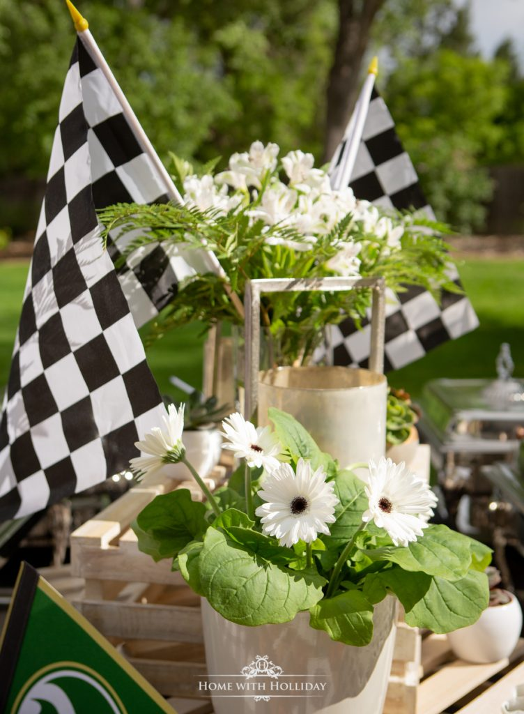 Black and White Outdoor Graduation Party Centerpiece - Home with Holliday