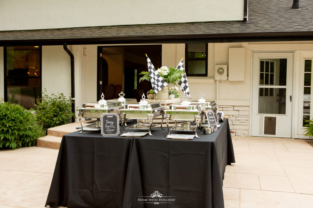 Black and White Outdoor Graduation Party Food Table - Home with Holliday