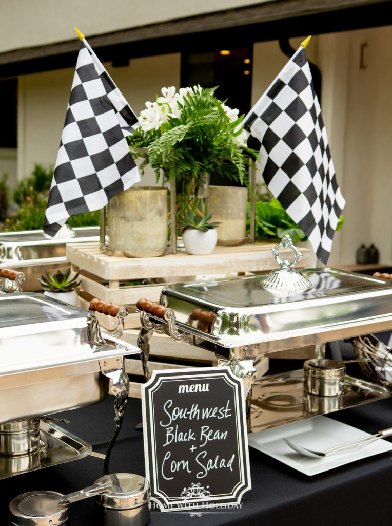 Black and White Outdoor Graduation Party Buffet - Home with Hollida