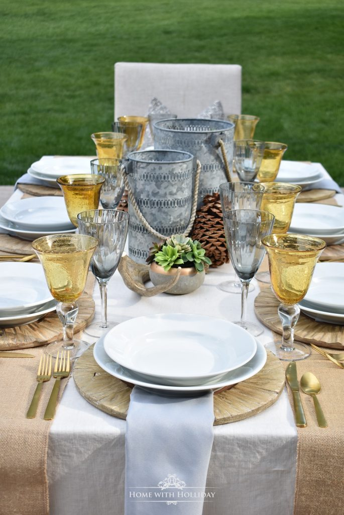 Rustic Alfresco Summer Table Setting - Home with Holliday