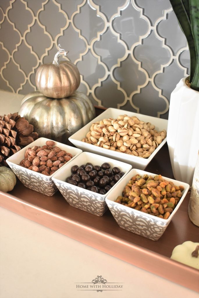 Tasty Fall Vignette featuring Nuts and Snacks - Home with Holliday