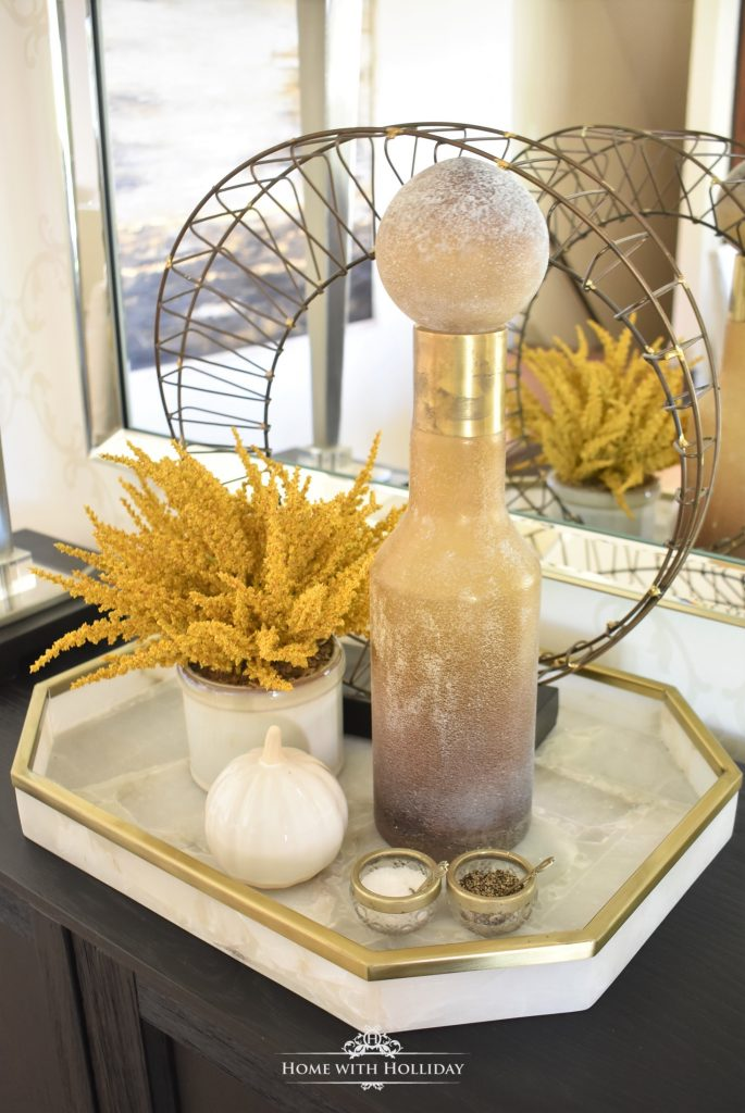 A Rustic Harvest Gold Fall Tablescape Vignette - Home with Holliday
