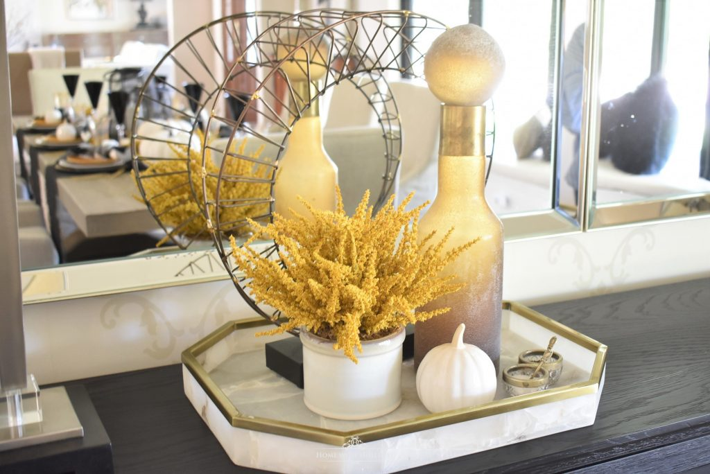 Rustic Harvest Gold Fall Tablescape Vignette - Home with Holliday