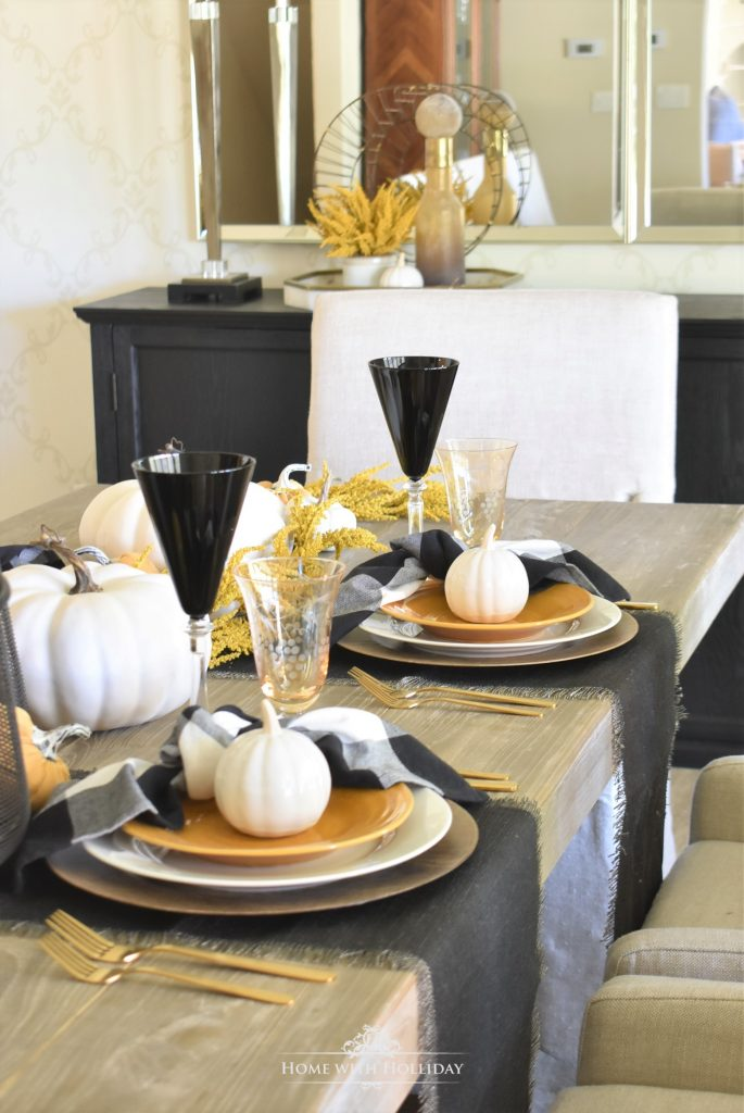 Rustic Harvest Gold Fall Tablescape Details - Home with Holliday