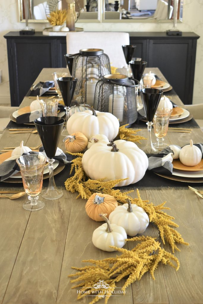 Rustic Harvest Gold Fall Tablescape with black accents