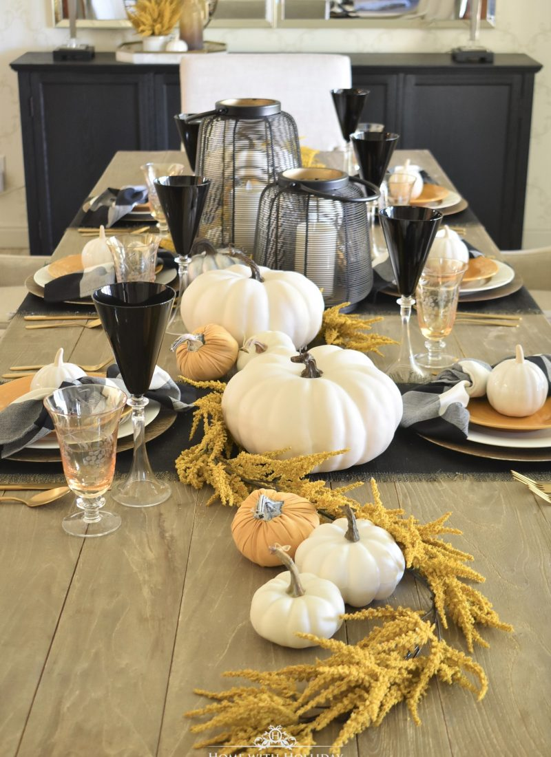 Rustic Harvest Gold Fall Tablescape - Home with Holliday