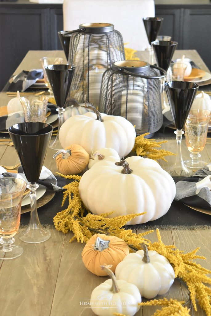 Simple Rustic Harvest Gold Fall Tablescape - Home with Holliday