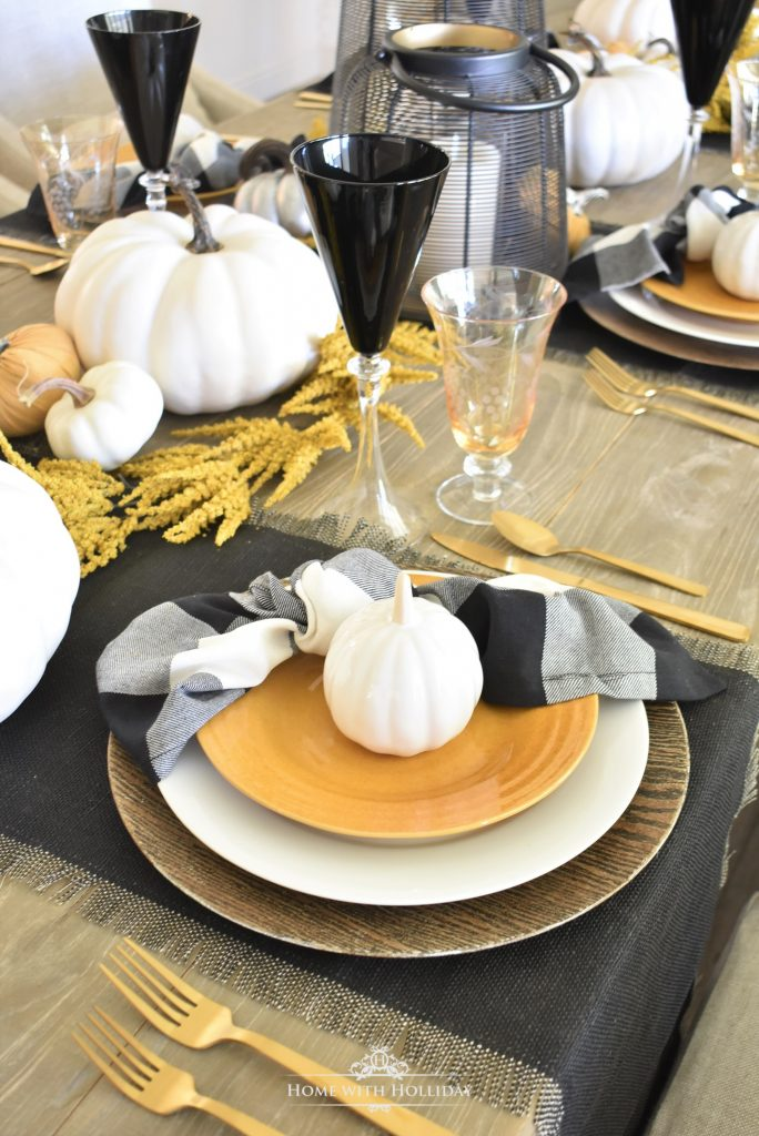 Rustic Harvest Gold Fall Tablescape Place Setting - Home with Holliday