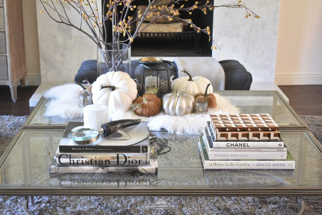 Elegant Warm and Cozy Fall Coffee Table Styling with Coffee Table Books
