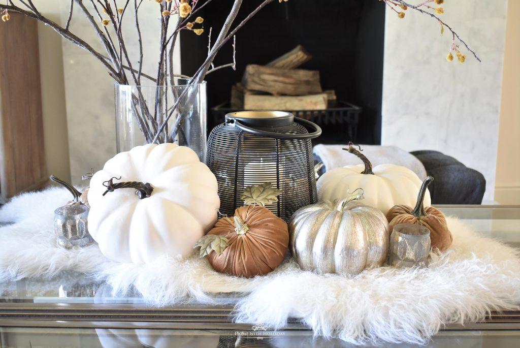 Warm and Cozy Fall Coffee Table Styling in Living Area