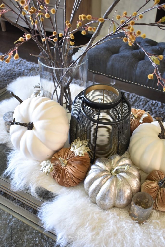 Warm and Cozy Fall Coffee Table Styling Close-up