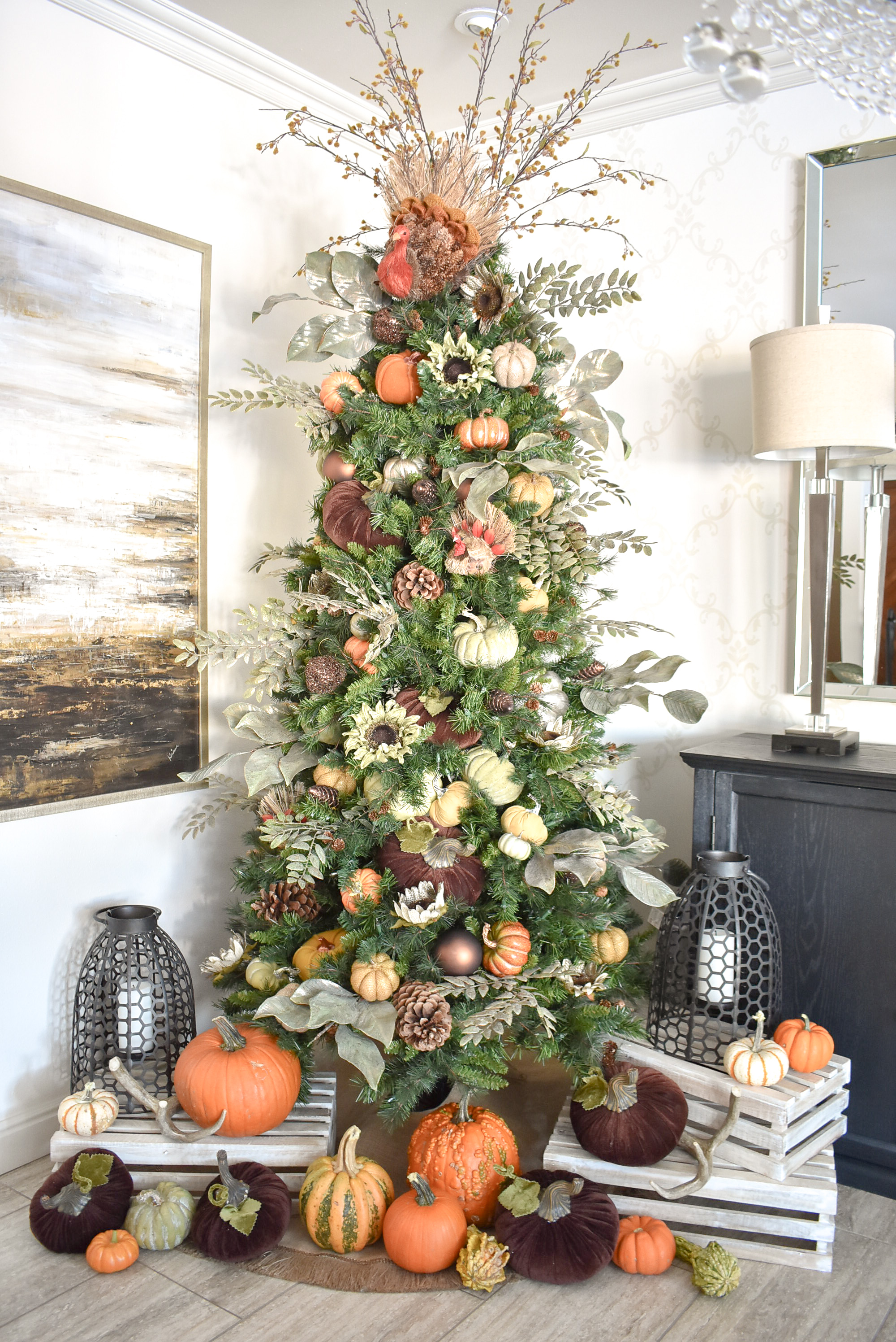 Autumn Thanksgiving Tree With Pumpkins Home With Holliday