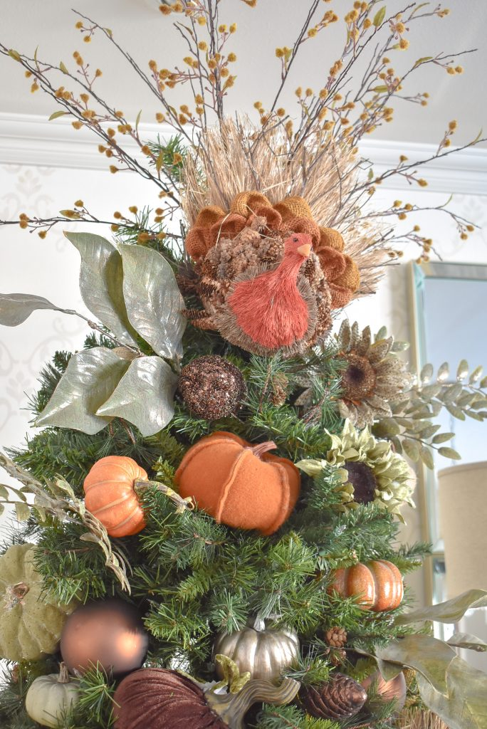Autumn Thanksgiving Tree with Pumpkins  Topper - Home with Holliday