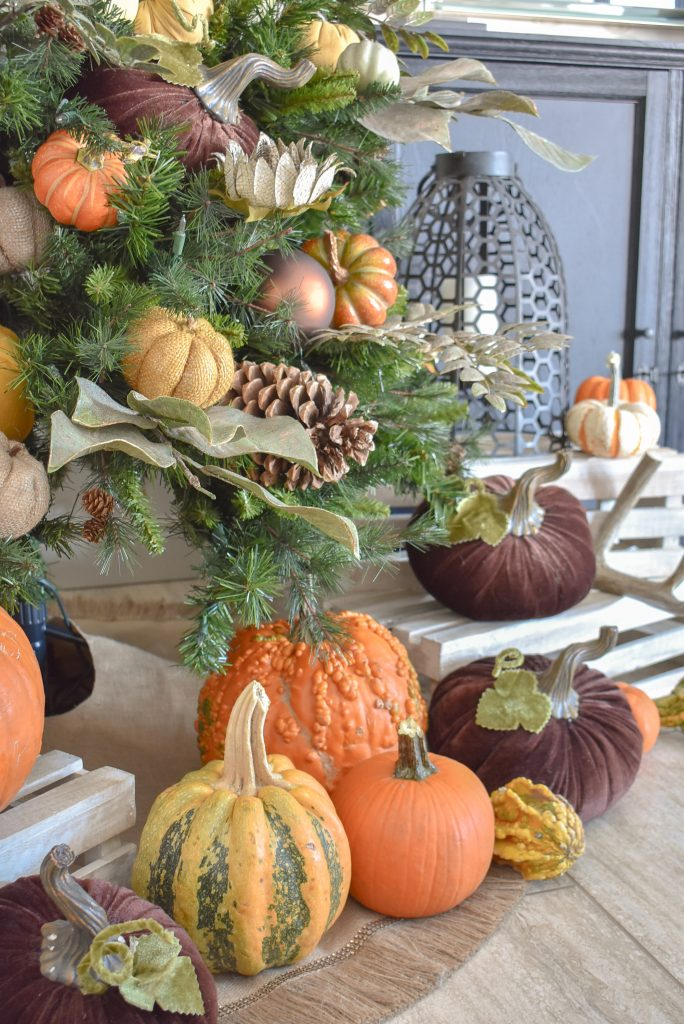 Decor for an Autumn Thanksgiving Tree with Pumpkins - Home with Holliday