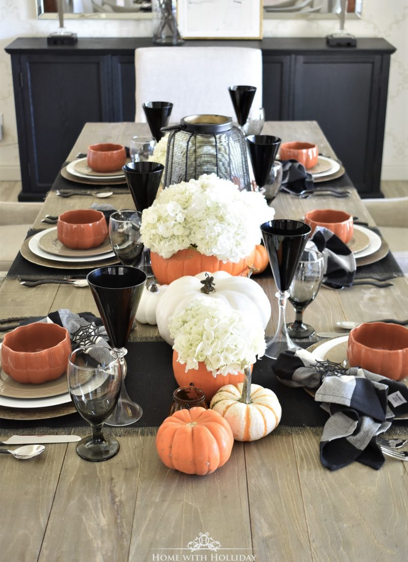 Elegant Halloween Tablescape with Fresh Hydrangeas