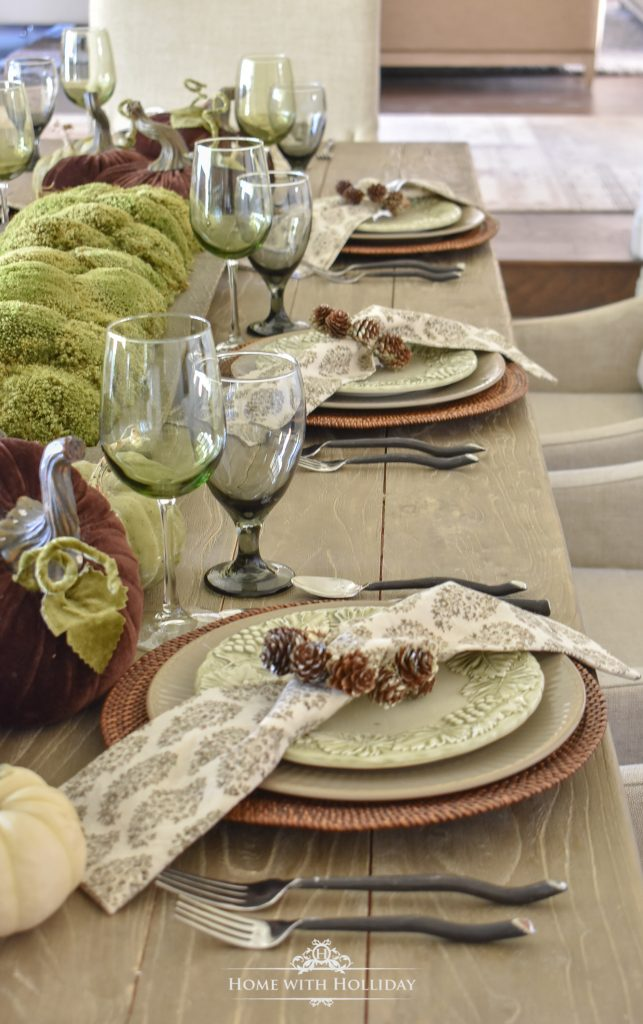 Rustic Pumpkin Fall Tablescape Place Settings - Home with Holliday
