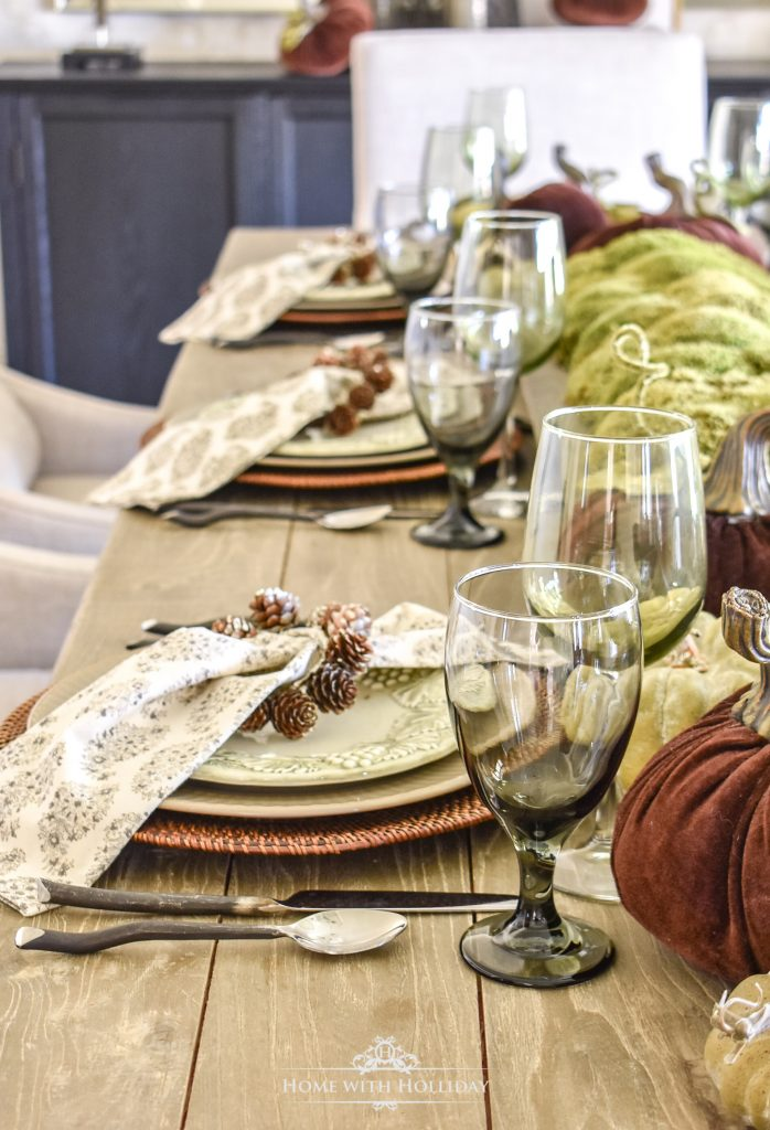 Rustic Pumpkin Fall Tablescape Details - Home with Holliday