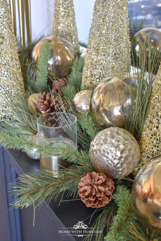 A Green and Gold Elegant Christmas Cone Tree Centerpiece - Home with Holliday