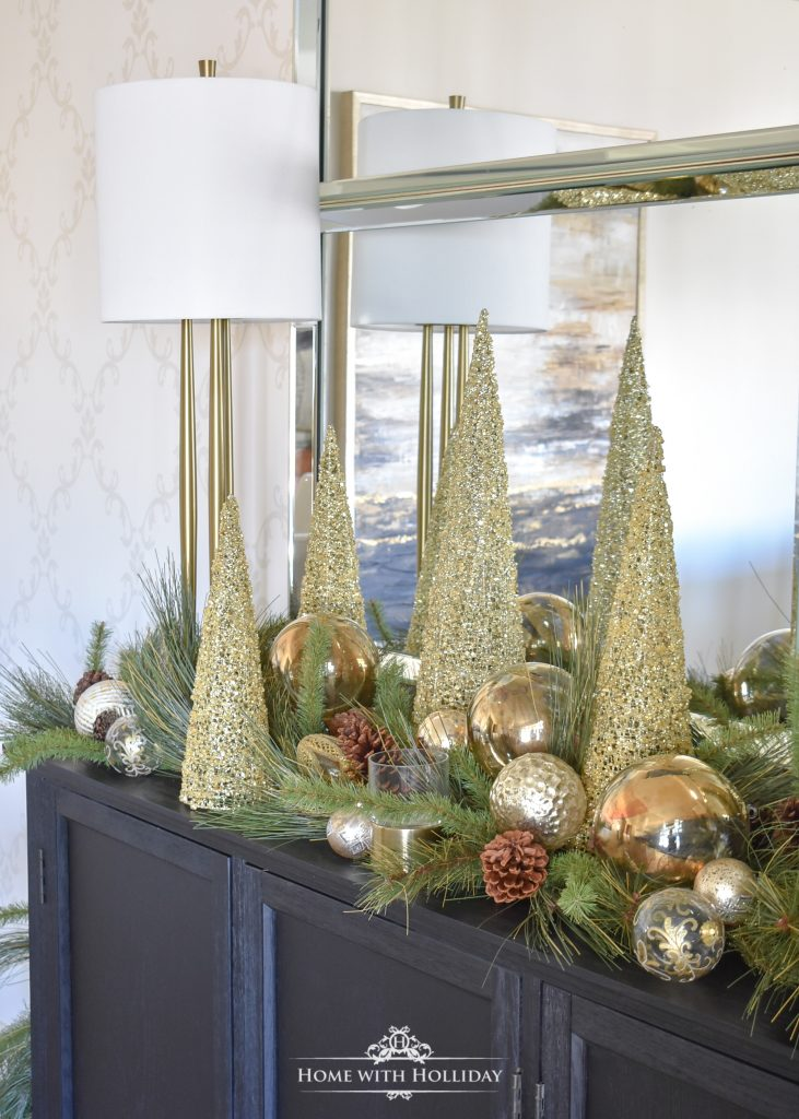 Easy Green and Gold Elegant Christmas Cone Tree Centerpiece - Home with Holliday