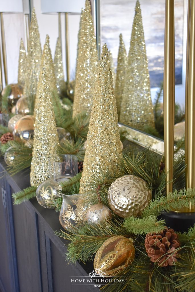 Home with Holliday's Top 10 Posts of 2019 - Green and Gold Elegant Christmas Cone Tree Centerpiece