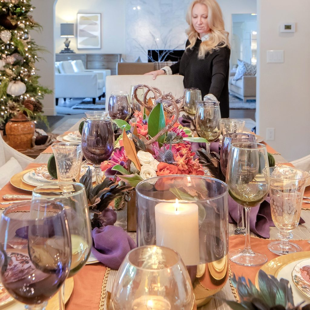 Jewel-toned Thanksgiving Table Setting - Home with Holliday