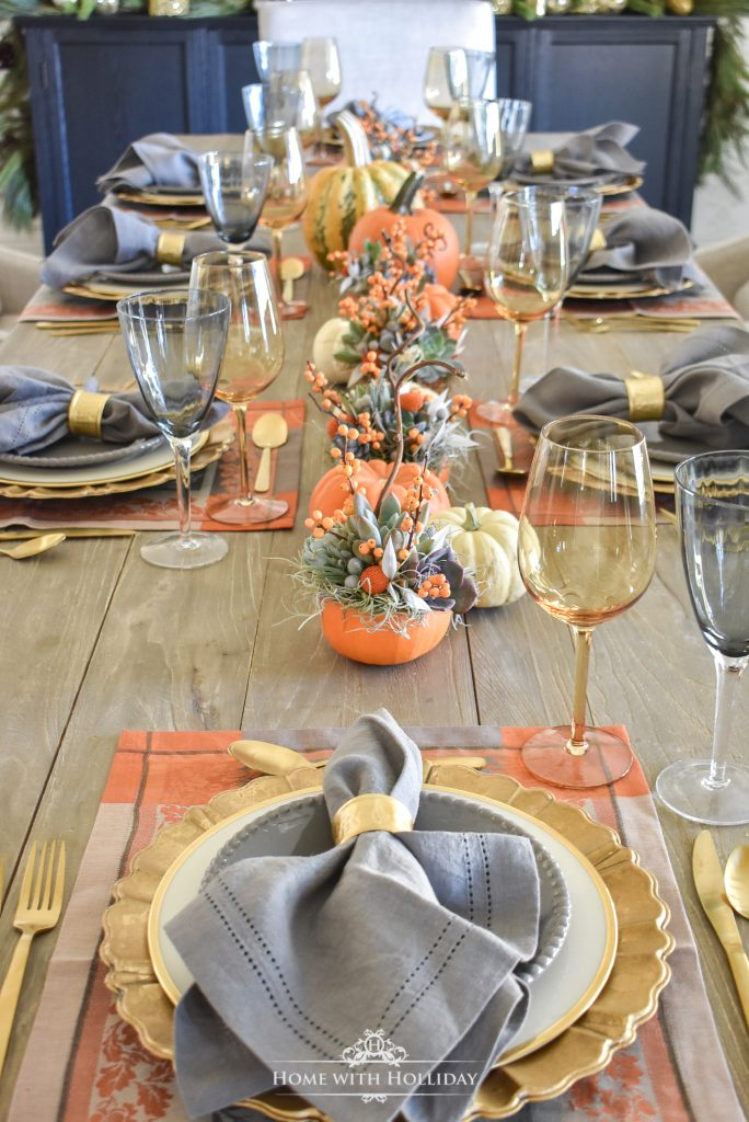 Our Succulents and Pumpkins Thanksgiving Table Setting - Home with Holliday