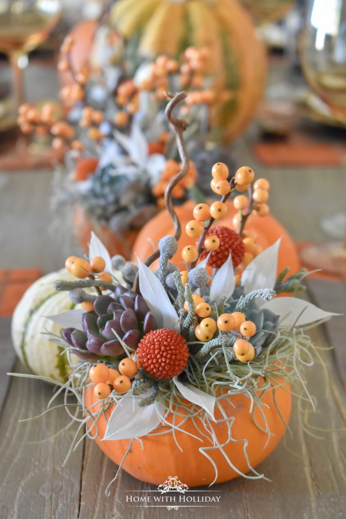 A Simple Succulents and Pumpkins Thanksgiving Table Setting - Home with Holliday