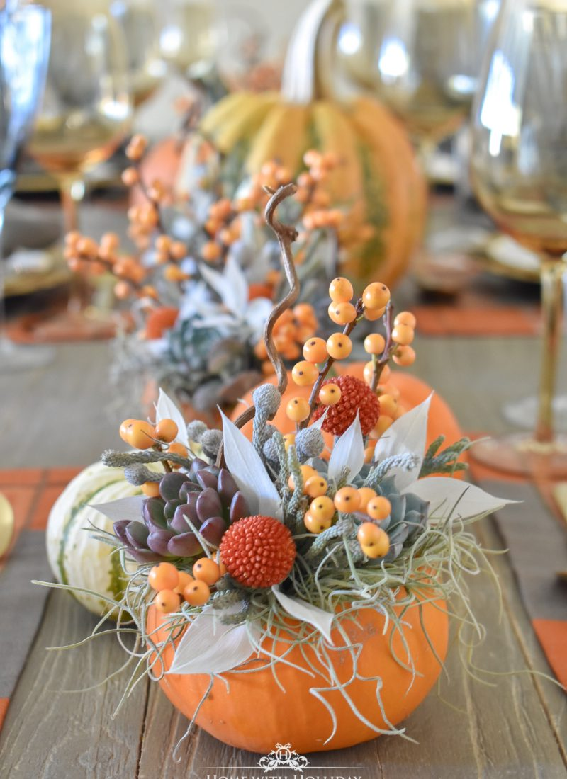 Succulents and Pumpkins Thanksgiving Table Setting
