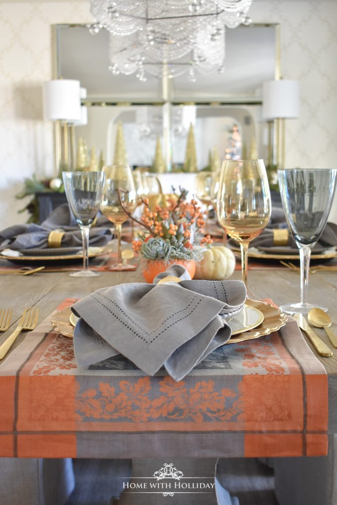 A Succulents and Pumpkins Thanksgiving Table Setting - Home with Holliday
