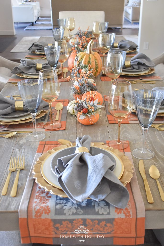Succulents and Pumpkins Thanksgiving Table Setting - Home with Holliday