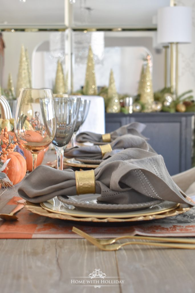 Succulents and Pumpkins Thanksgiving Table Setting Placesettings- Home with Holliday