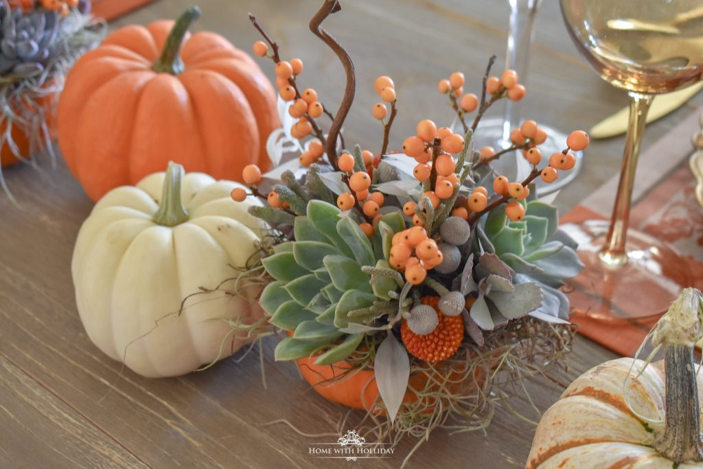Succulents and Pumpkins Thanksgiving Table Setting Centerpiece - Home with Holliday