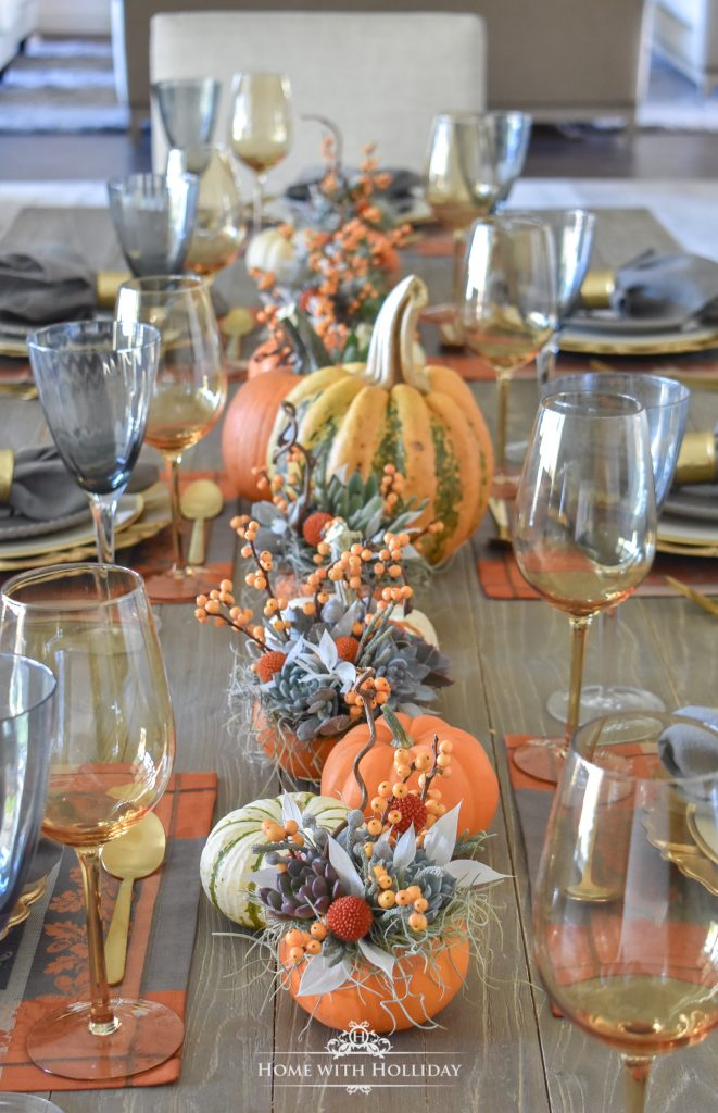 An Elegant Succulents and Pumpkins Thanksgiving Table Setting - Home with Holliday