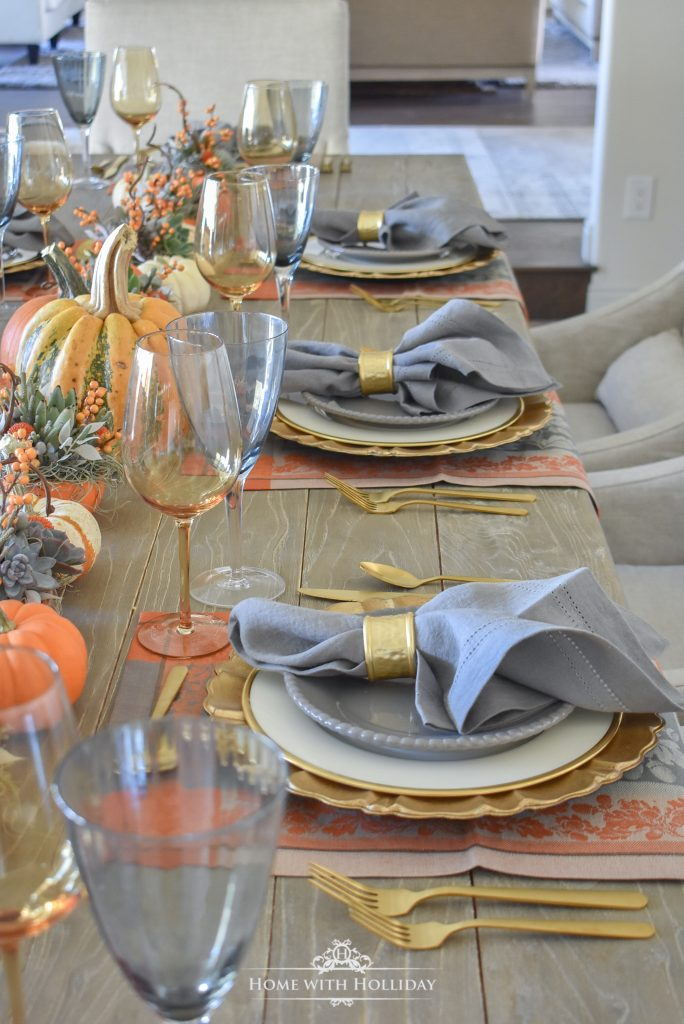 Placesettings for a Succulents and Pumpkins Thanksgiving Table Setting - Home with Holliday