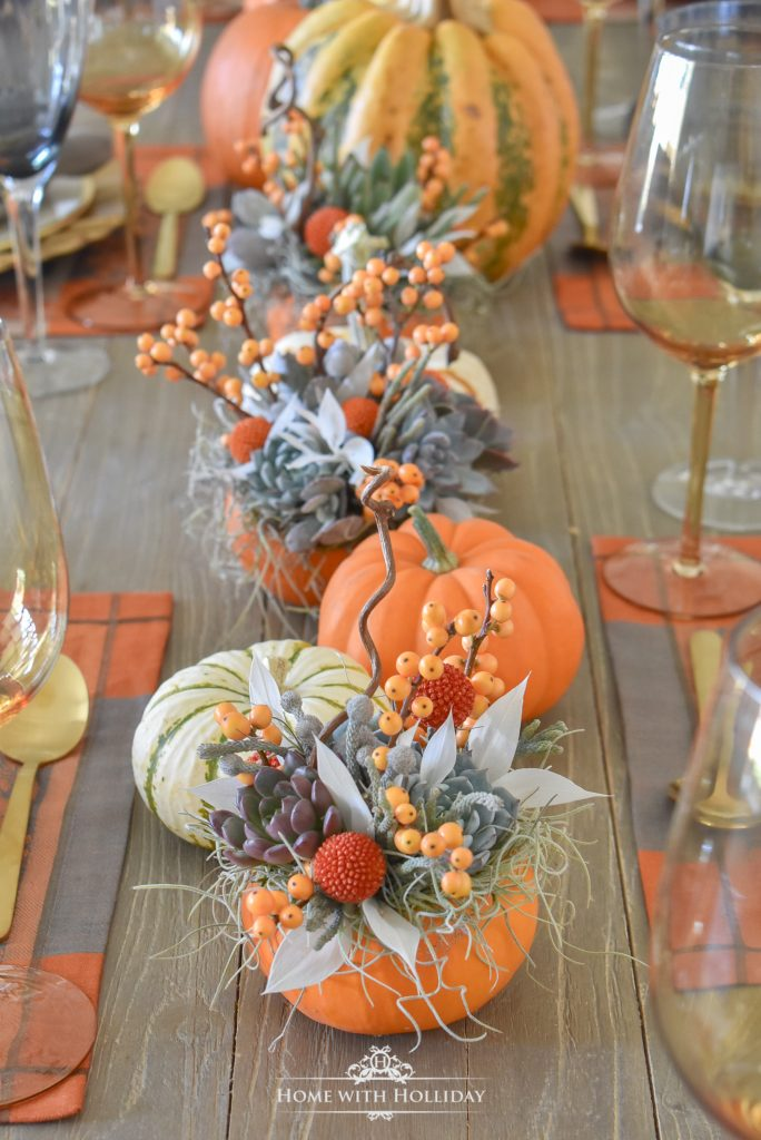 Simple Succulents and Pumpkins Thanksgiving Table Setting - Home with Holliday