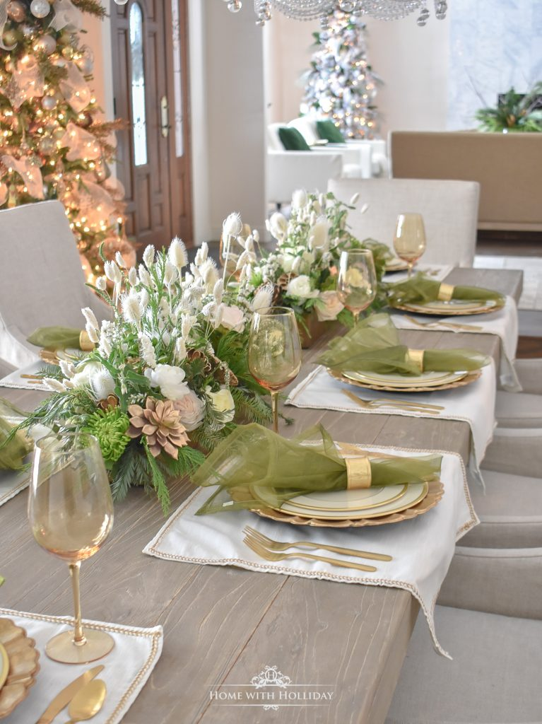An Elegant Green and Gold Christmas Tablescape - Home with Holliday