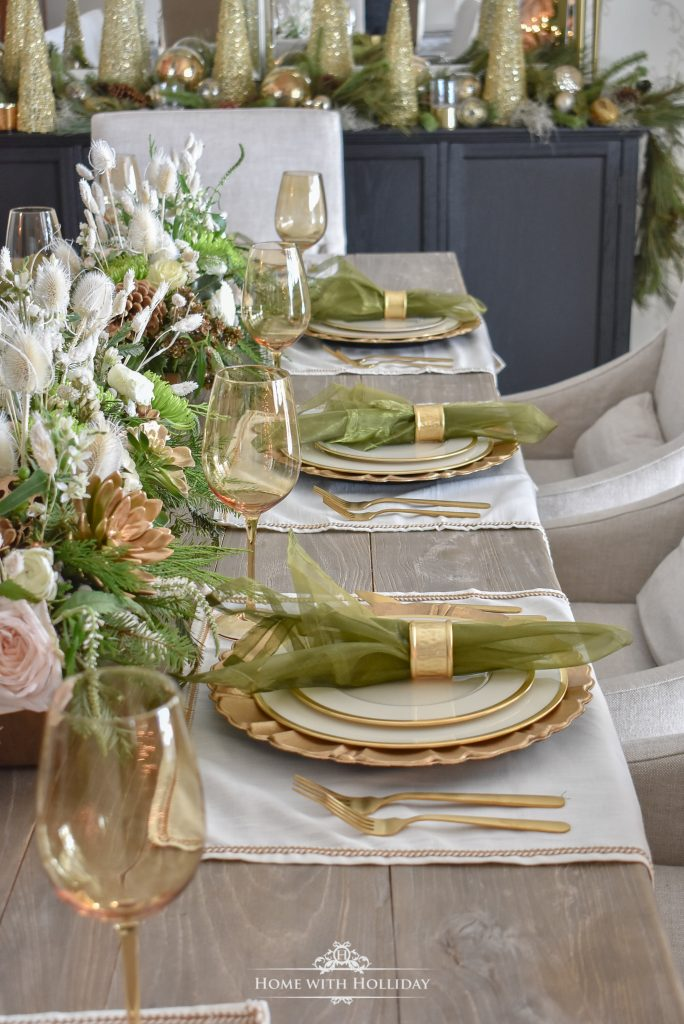 Elegant Green and Gold Christmas Tablescape - Home with Holliday